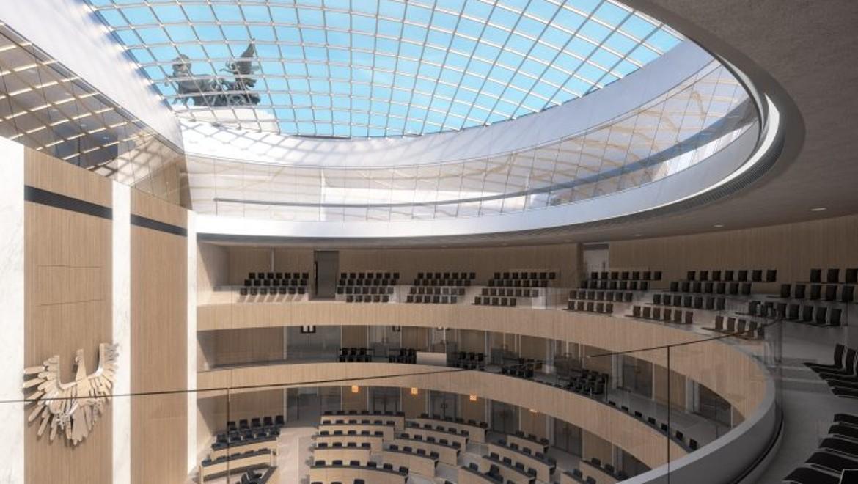 Nationalratssitzungssaal neu, Blick von der BesucherInnengalerie.